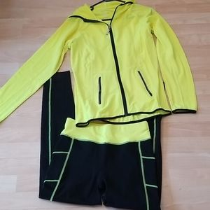 Fluorescent work out pant and lightweight jacket